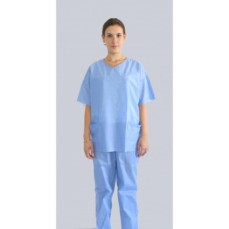 Niejalowe ubranie medyczne spodnie jednorazowe i bluza jednorazowa z krótkim rekawem-1