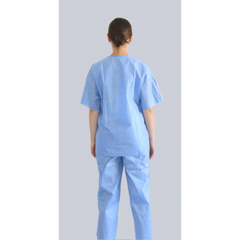 Niejalowe ubranie medyczne spodnie jednorazowe i bluza jednorazowa z krótkim rekawem-2