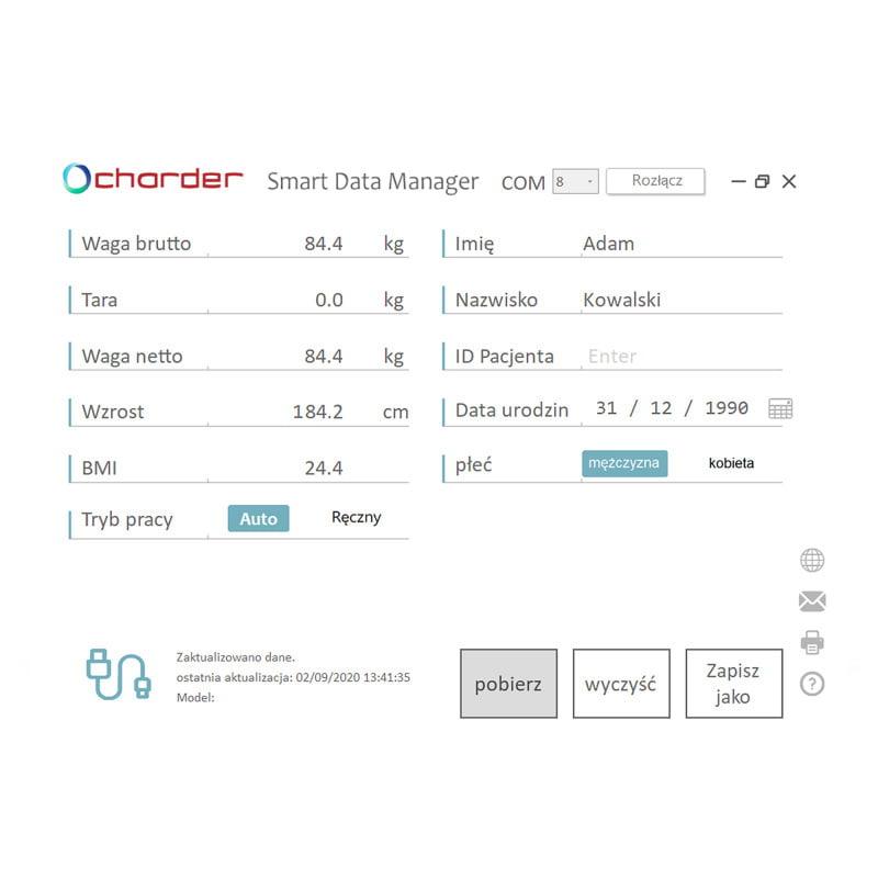 Zdalny pomiar wagi i wzrostu pacjenta Charder smartdatamanager-1