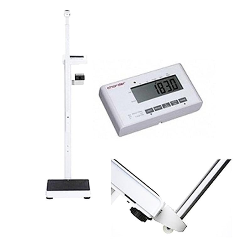 Elektroniczna waga medyczna CHARDER MS 4900 z funkcją Body mass index, na kółkach + wzrostomierz teleskopowy (klasy III)